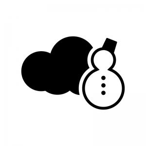 天気の曇りと雪の白黒シルエットイラスト02