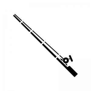 釣り竿の白黒シルエットイラスト