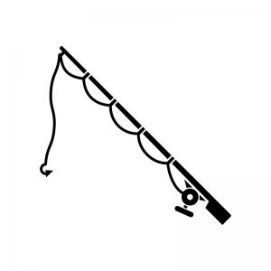 釣り竿の白黒シルエットイラスト02