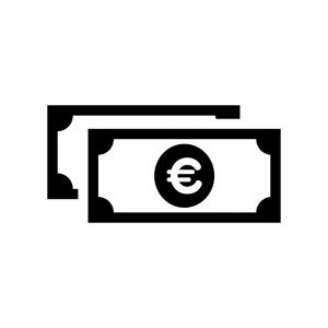 重なったユーロ紙幣の白黒シルエットイラスト