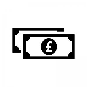 重なったポンド紙幣の白黒シルエットイラスト