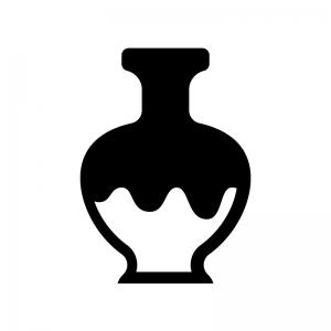 アンティークな壺・骨董品の白黒シルエットイラスト