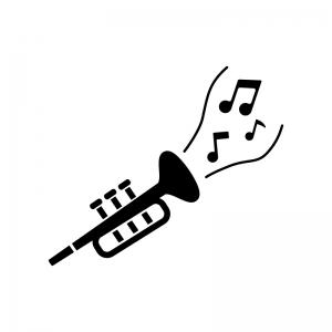 ラッパからメロディが流れている白黒シルエットイラスト