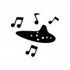 オカリナからメロディが流れている白黒シルエットイラスト