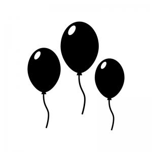 3つの風船の白黒シルエットイラスト