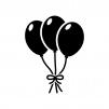 束ねた風船の白黒シルエットイラスト