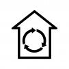 家の中を循環している白黒シルエットイラスト