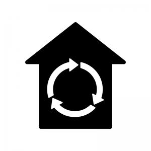 家の中を循環している白黒シルエットイラスト02