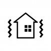 家の耐震をイメージした白黒シルエットイラスト