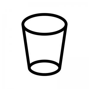 透明なコップの白黒シルエットイラスト