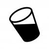 液体が入った透明なコップの白黒シルエットイラスト