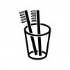 歯ブラシとコップの白黒シルエットイラスト