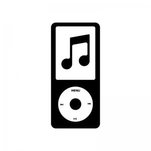 音楽プレイヤーと音符の白黒シルエットイラスト