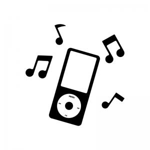 音楽プレイヤーと音符の白黒シルエットイラスト02