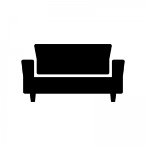 ソファの白黒シルエットイラスト