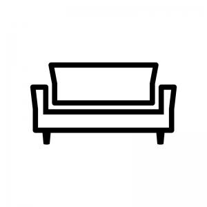 ソファの白黒シルエットイラスト02