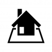 囲み付きの家(ホーム)の白黒シルエットイラスト