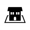 囲み付きの家(ホーム)の白黒シルエットイラスト02