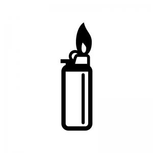 ライターから火が出ている白黒シルエットイラスト