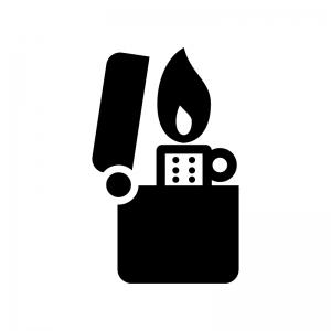 火が出ているオイルライターの白黒シルエットイラスト
