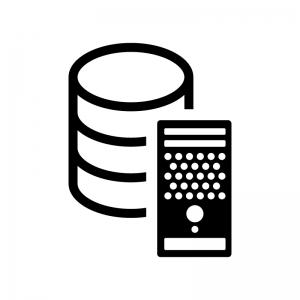 データベースとサーバの白黒シルエットイラスト