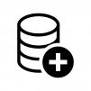 データベースとプラスマークの白黒シルエットイラスト