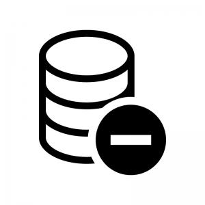 データベースとマイナスマークの白黒シルエットイラスト