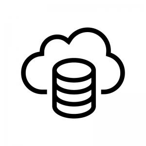 データベースとクラウドの白黒シルエットイラスト