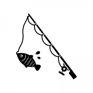 釣りの白黒シルエットイラスト
