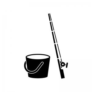 釣り竿とバケツの白黒シルエットイラスト