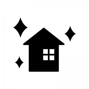 リノベーションした家の白黒シルエットイラスト