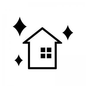 リノベーションした家の白黒シルエットイラスト02