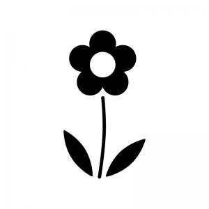 小花の白黒シルエットイラスト