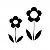 二輪の小花の白黒シルエットイラスト