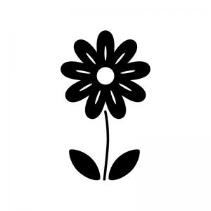 小花の白黒シルエットイラスト02