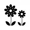 二輪の小花の白黒シルエットイラスト02