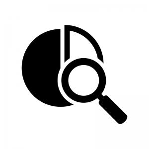 分析アイコンの白黒シルエットイラスト