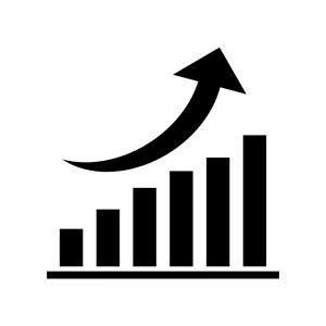 上昇グラフの白黒シルエットイラスト