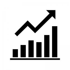 上昇グラフの白黒シルエットイラスト02