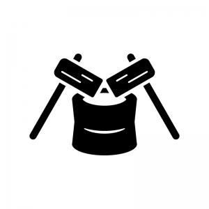 杵と臼の白黒シルエットイラスト02