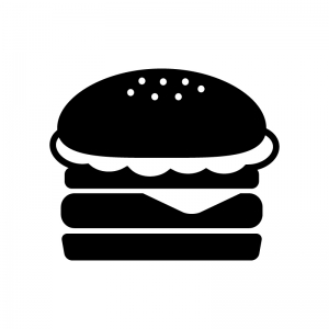 ハンバーガーの白黒シルエットイラスト