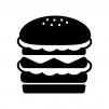 ダブルバーガーの白黒シルエットイラスト