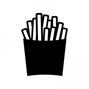 フライドポテトの白黒シルエットイラスト