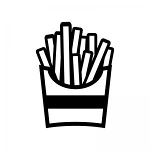 フライドポテトの白黒シルエットイラスト02