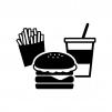 ハンバーガーセットの白黒シルエットイラスト