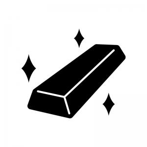 金の延べ棒の白黒シルエットイラスト