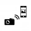 デジカメからスマホへ写真転送の白黒シルエットイラスト