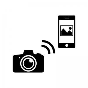 一眼レフからスマホへ写真転送の白黒シルエットイラスト