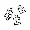 パズルピースの白黒シルエットイラスト03