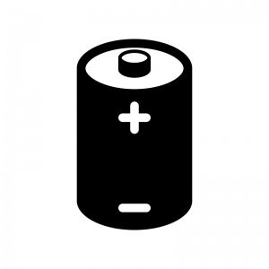 乾電池の白黒シルエットイラスト